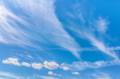Beautiful blue sky with clouds. Abstract background.  Stock Images