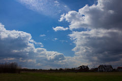 Beautiful blue sky with clouds. Background Stock Photos