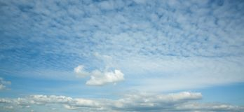 beautiful blue sky with clouds background, panoramic view royalty free stock photography