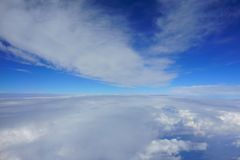 Beautiful blue sky with clouds. corridor between clouds royalty free stock image
