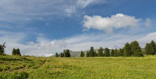 Beautiful blue sky with clouds over the top of Altai Mountains. Beautiful blue sky with clouds over the top of the Altai Mountains Stock Photography