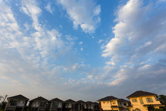 Beautiful blue sky and clouds with residential house Royalty Free Stock Images