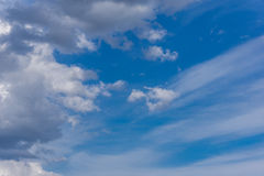 Beautiful blue sky with clouds at sunset. Cloudy sky background. Stock Photography