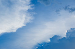 Beautiful Blue sky with clouds. Under Sun light Royalty Free Stock Photos