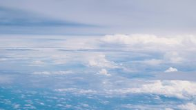 Beautiful blue sky and clouds from the windows of airplane.  stock video