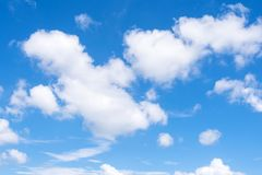 Beautiful blue sky with could. In summer Royalty Free Stock Photo