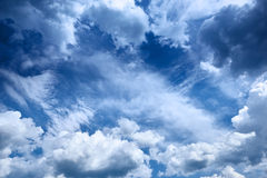 Beautiful blue sky with cumulus clouds as background Stock Images