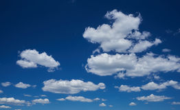 The beautiful blue sky cumulus clouds Stock Image