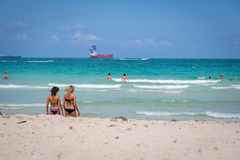 Beautiful blue sky day in the beach of Miami in Florida Stock Photography