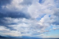 Beautiful Blue Sky with Dramatic Clouds. Nature Spectacles royalty free stock photography