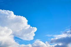 Beautiful blue sky with clouds fleece. Abstract background. stock photo