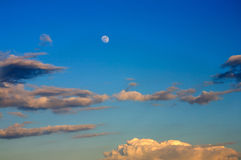 Beautiful blue sky with full moon Stock Image