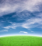 Beautiful blue sky with green hill background. Background with a beautiful blue sky and green hill stock images