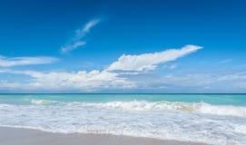 Beautiful blue sky holiday Varadero beach scene - getaway on a vacation beach in Cuba. Stock Photo