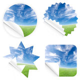 Beautiful blue sky horizon stickers. Illustrations of beautiful stickers with green grass and blue sky. Blank and isolated Stock Photography