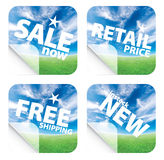Beautiful blue sky horizon stickers Royalty Free Stock Photos