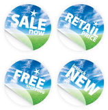 Beautiful blue sky horizon stickers. Illustrations of beautiful stickers with green grass and blue sky. Themes include sales, free shipping, retail price and new Royalty Free Stock Images