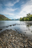 Beautiful Blue Sky With Intermittent Clouds Over Ullswater Lake In The Lake District, UK. Stock Image