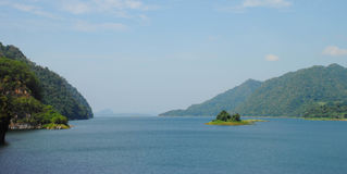 Beautiful blue sky lake and green mountain.  Royalty Free Stock Image