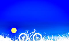 Beautiful blue sky and Mountain bike silhouette Stock Image