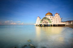 Beautiful blue sky over Malacca Straits Mosque Stock Images