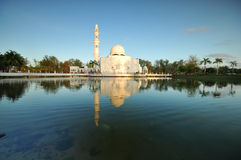 Beautiful blue sky over the white floating mosque Royalty Free Stock Photo