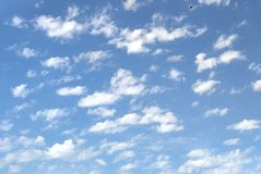Beautiful blue sky with soft white clouds at bright sunny day as background Royalty Free Stock Images