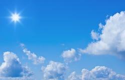Beautiful blue sky and sun Stock Photo
