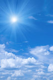 Beautiful blue sky and sun. Stock Photos