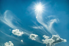 Beautiful blue sky with sun Royalty Free Stock Photography