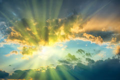 Beautiful blue sky with sun Royalty Free Stock Images