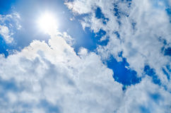 Beautiful blue sky with sunbeams Royalty Free Stock Photos