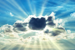 Beautiful blue sky with sunbeams Royalty Free Stock Image