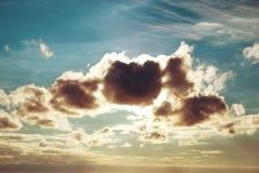 Beautiful blue sky with sunbeams Stock Photography
