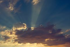 Beautiful blue sky with sunlight and cloud on evening.  royalty free stock photos