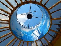 Beautiful blue sky view from the bottom up through the roof stock images