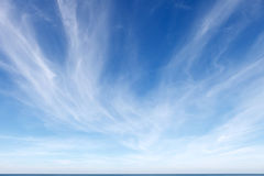 Beautiful blue sky with white Cirrus clouds.  stock images