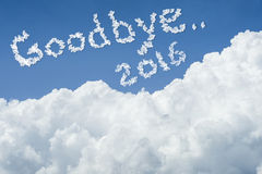 Beautiful Blue sky and white cloud. Sunny day.Cloudscape.close up the cloud.text goodbye 2016.end of the 2016 year concept. Get the better life in new year 2017 Stock Photo