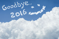 Beautiful Blue sky and white cloud. Sunny day.Cloudscape.close up the cloud.text goodbye 2016.end of the 2016 year concept. Get the better life in new year 2017 Royalty Free Stock Photo