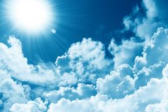 Beautiful blue sky white cloud sunshine. Religion concept heavenly background. Divine heavenly light. Peaceful nature background