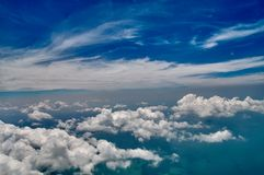 Beautiful blue sky and white clouds background. Sky atmosphere panorama. Heavenly bright daylights. Outdoor planet. royalty free stock images