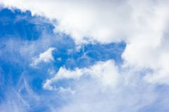 Beautiful blue sky with white clouds background stock photography