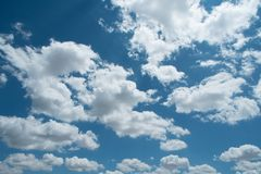 Beautiful blue sky, white clouds in the sky. Climate change royalty free stock photo