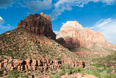 Beautiful blue skyline with double mountain view, Mt. Zion National Park, St. George, UT Stock Photography