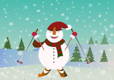 Beautiful blue snowman smiles and  skiing  on the snowy background with trees. Royalty Free Stock Image