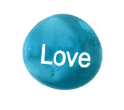 Beautiful Blue Stone With LOVE Painted On Front Royalty Free Stock Images