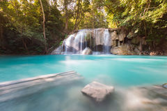 Beautiful blue stream waterfall tropical deep forest Stock Images