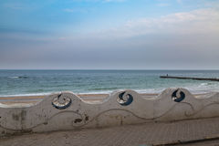 Beautiful blue structures of entrance of Odessa beach Stock Photography