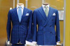 Beautiful blue suits on a mannequin Royalty Free Stock Photo