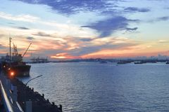 Beautiful Blue Sunset at Surabaya Harbor. And landscape view from other anggle royalty free stock photography